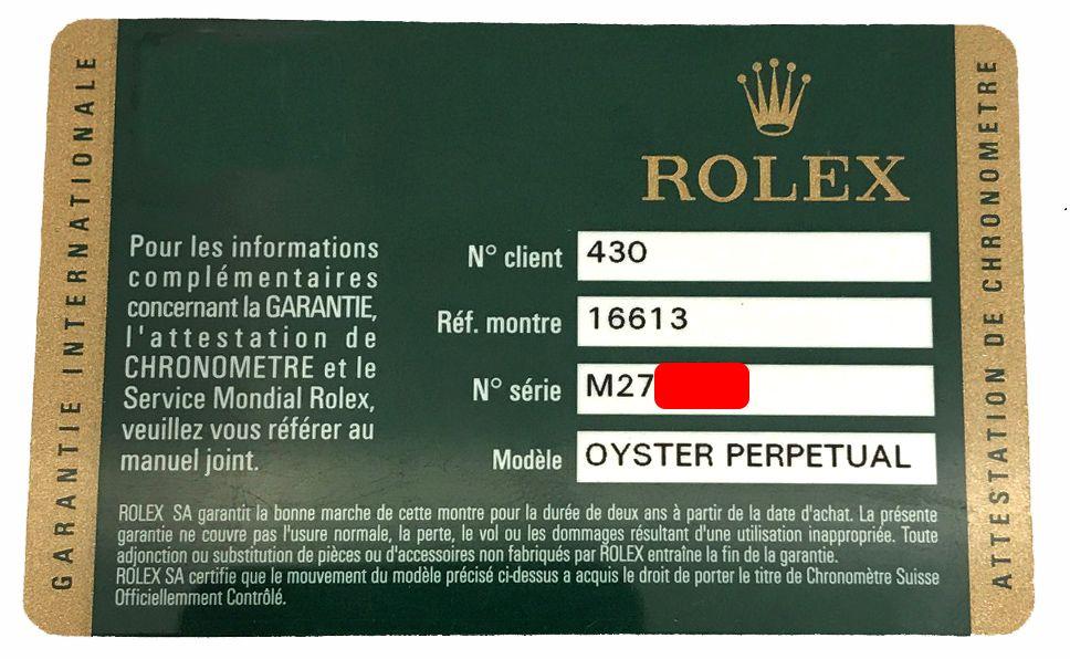 Garantía Rolex 2007